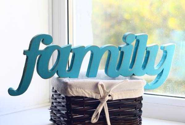blue painted wooden letters family