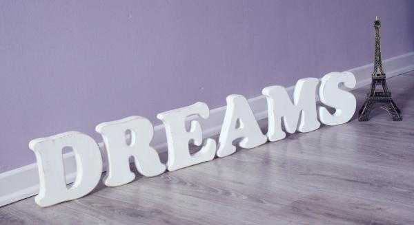 decorative wooden letters, dreams