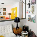 yellow wall decorating art for little apartment