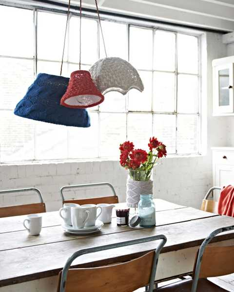 knitted lamp shades for dining room decorating