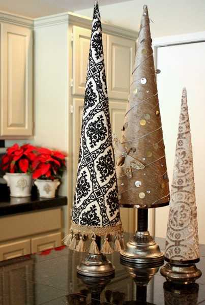 fabric christmas trees with metal base