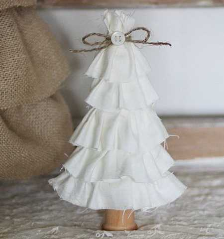 white christmas tree made with fabric