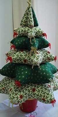 small pillows christmas tree in green colors