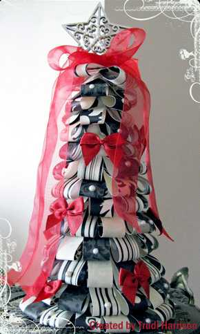 black and white ribbon christmas tree with red bows
