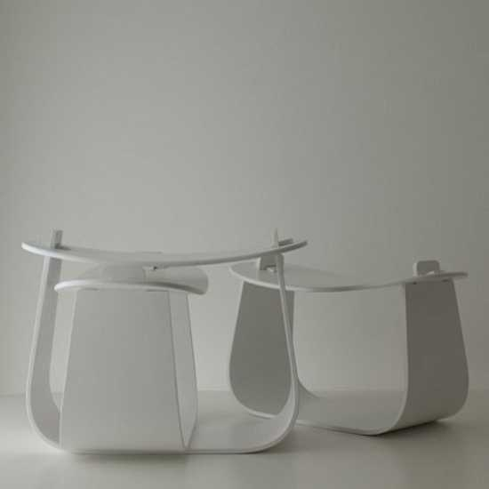 Wood Stool In Minimalist Style Reminescent Of Japanese