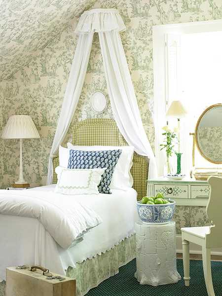 green wallpaper and white bedding for bedroom decor
