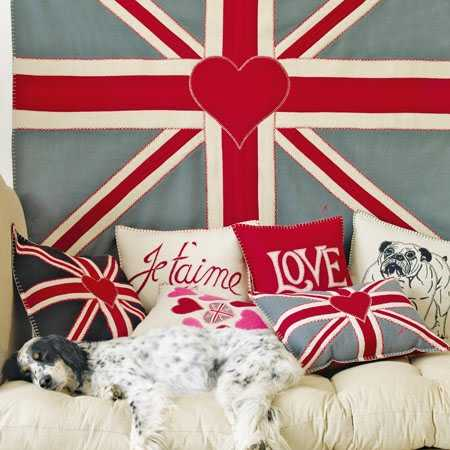 wall decoration and pillows with union jack
