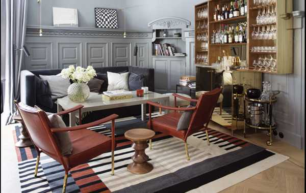 wooden wall panels and wood furniture for living room in vintage style