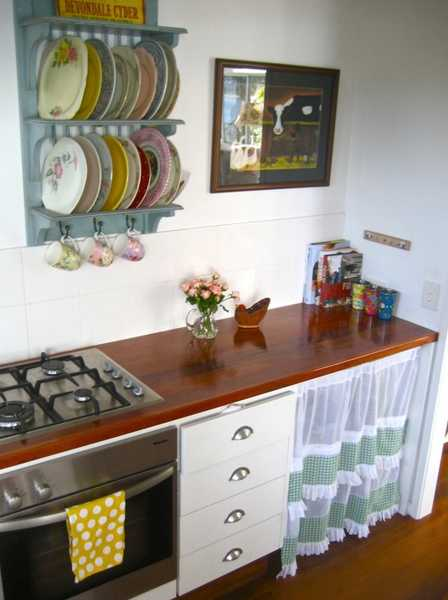 Vintage Style Wall Shelves And Kitchen Cabinet With Curtain