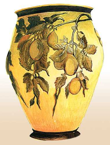 decorative vase with fruits in modern style