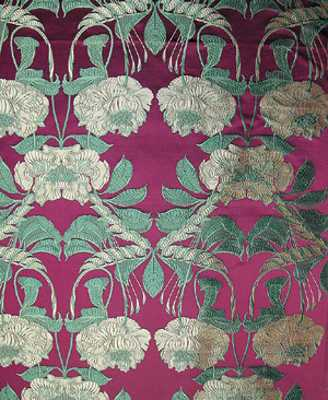 floral wallpaper pattern in green and pink colors for interior decorating in modern style