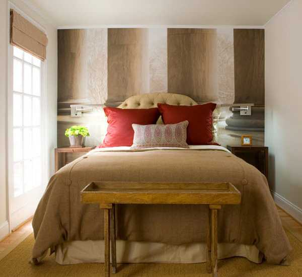Small Bedroom Decor Ideas. Red, White And Brown Colors For Bedroom Design