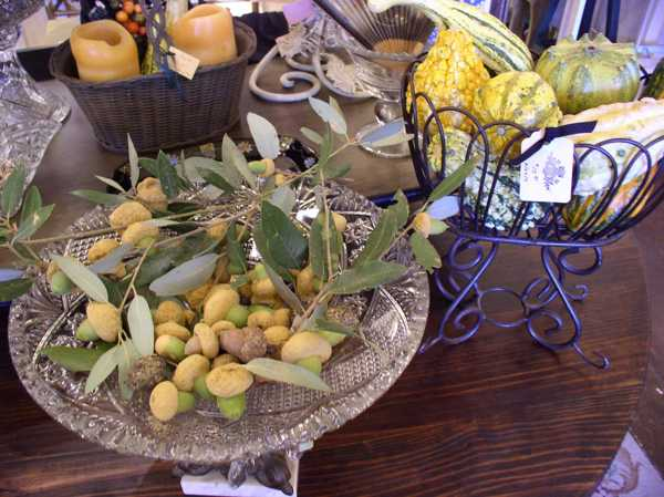 gourds and nuts table centerpieces