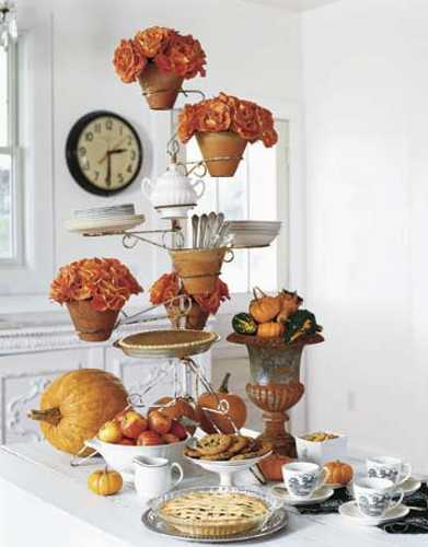 fall flower arrangements, apples and pumpkins for traditional thanksgiving decorating
