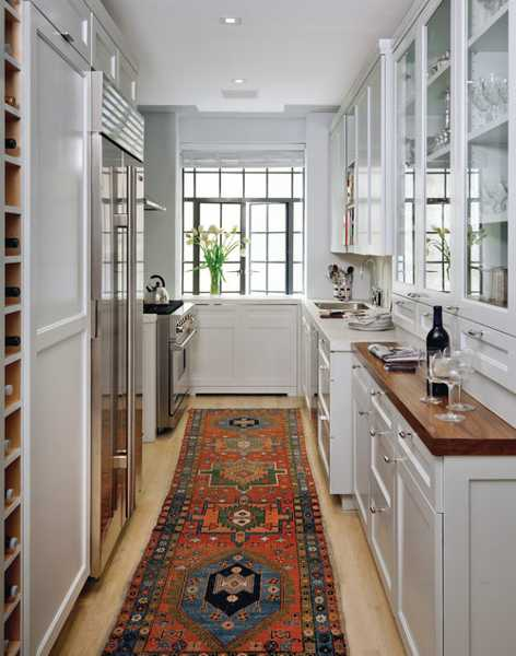 white kitchen cabinets and floor rug for decorating in vintage style
