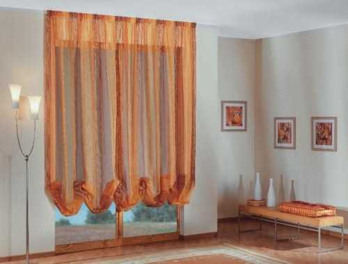 shear window curtain design in orange color