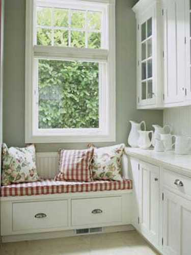 red and white bench with storage