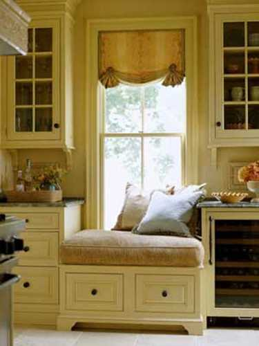 small window seat with curtain