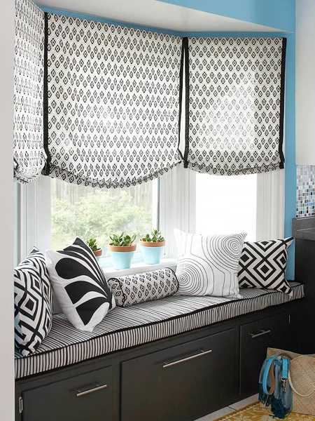 black and white window bench cushions and curtains