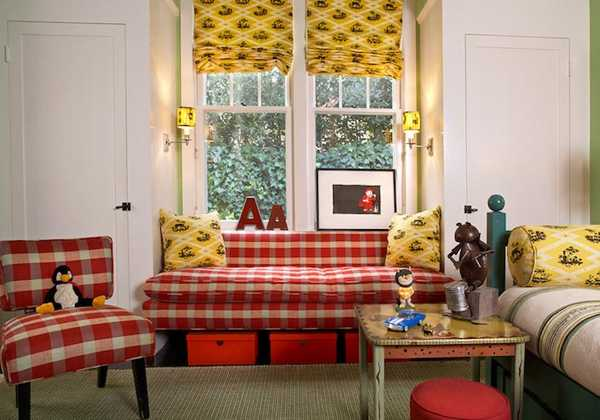 red window seat bench upholstery fabric and yellow curains
