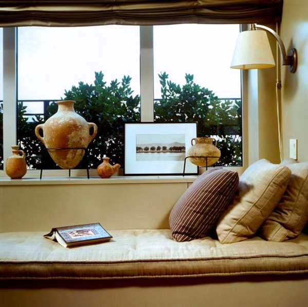 window bench cushions in neutral color shades