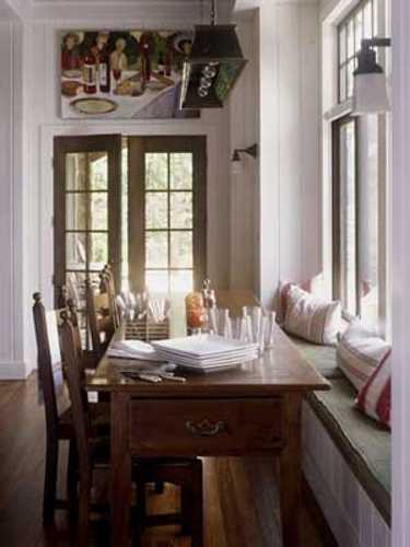 dining room decorating with window bench cushions