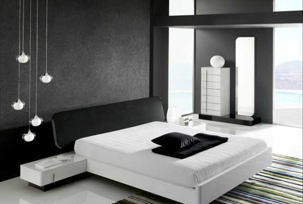 black and white bedroom decor in contemporary style
