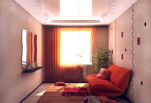 small room decorating with orange colors