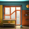 unusual window design, walls painted turquoise and orange colors