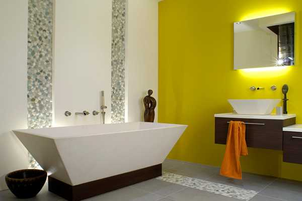 contemporary bathroom design with yellow wall