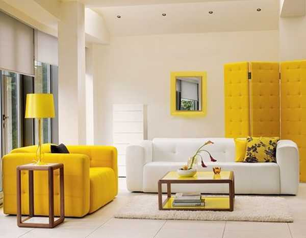 white decorating with yellow accents