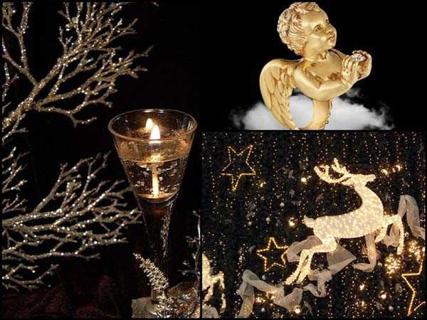 black christmas decor ideas and oranments in golden colors