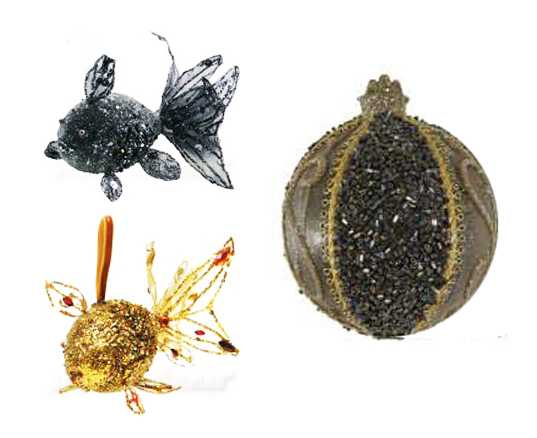 fish christmas ornaments and christmas balls in black and golden colors