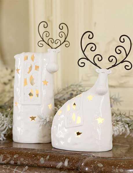 white christmas figurines, reindeer