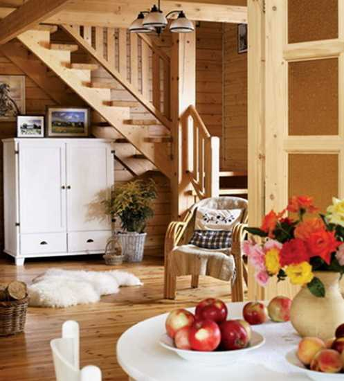 country home interior design and decorating with white painted wood furniture