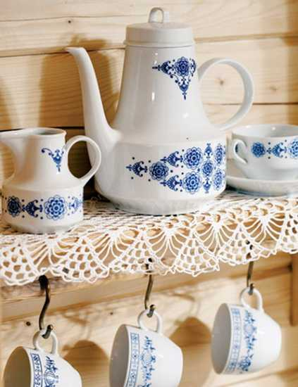 country home decorations, porcelain tea set in white and blue colors