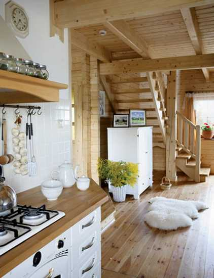 country home decorations and kitchen design with white cabinets and wooden hood
