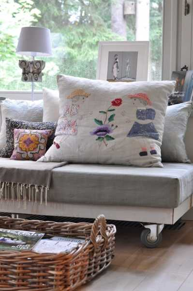 decorative pillows with handmade embroidery