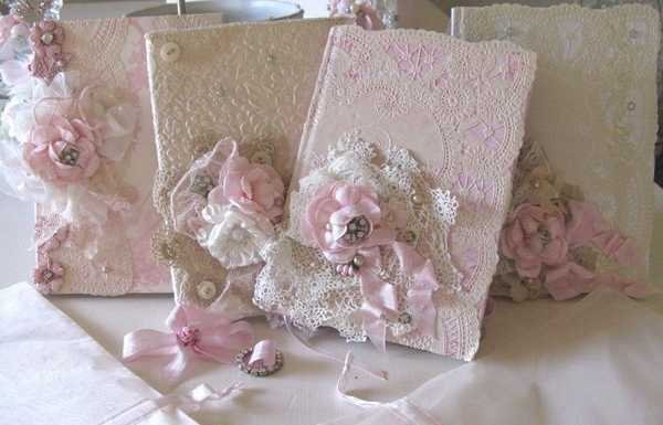 lace and ribbon flowers for home decoration