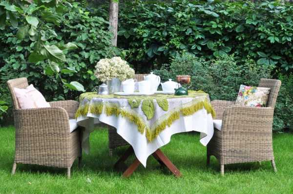 handmade tablecloth with embroidery and applique