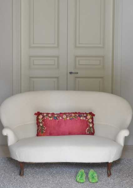 sofa pillow with handmade embroidery