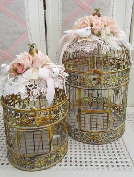 fabric decorations for antique bird cages
