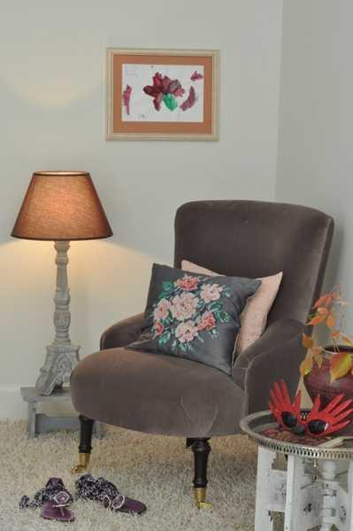 floral designs on decorative pillow