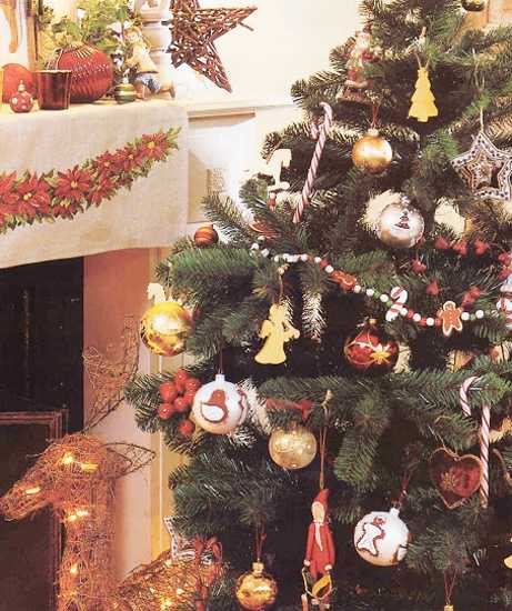 christmas tree and fireplace decorating in vintage style