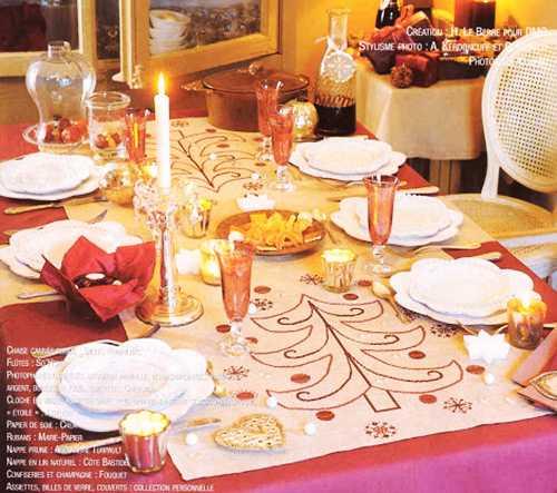 christmas table decoration with handmade christmas tree tablecloth