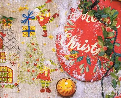 christmas tablecloth with holiday embroidery in vintage style