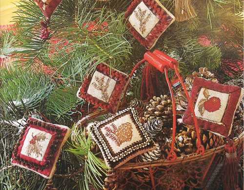 christmas tree decorations with embroidery in vintage style