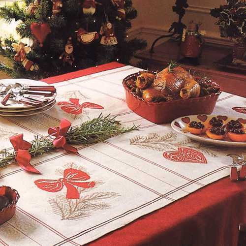 christmas tablecloth with embroidery in vintage style