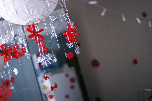 white and red christmas decorations in scandinavian style