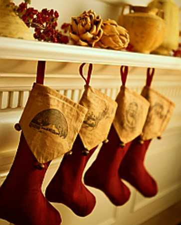 fireplace decorating with handmade stockings
